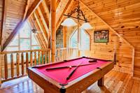 Pool table in the upstairs loft area