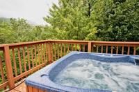Bubbling hot tub at this 1 bedroom Gatlinburg cabin