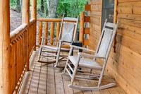 Wooden rocking chairs on the porch