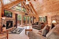 Across the Smokies - the living room of this 3 bedroom Gatlinburg cabin rental