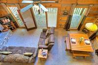 Aerila view of Cozy Mountain Hideaway's living room - one bedroom Gatlinburg cabin