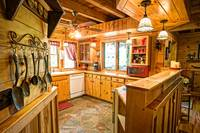 Full kitchen of this 1 bedroom cabin in between Gatlinburg and Pigeon Forge