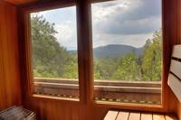 Mountain views from inside the sauna