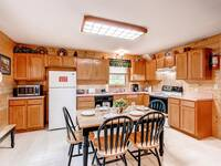 Full kitchen in this affordable 2 bedroom cabin in Wears Valley near Pigeon Forge