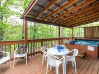 Porch furniture and outdoor hot tub
