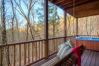 Back Deck with hot tub and sitting area
