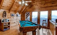 Pool table with mountain views of the Smoky Mountains
