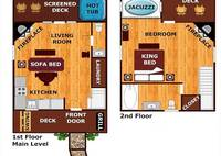 Floor Plan of one bedroom honeymoon cabin