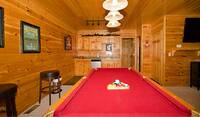 Pool table with small kitchen area