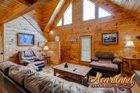 Living room of this pet friendly cabin near Pigeon Forge