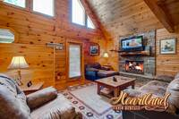 Stone gas fireplace, flat screen TV, and a comfy seating area - pet friendly