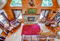 Aerial view of cabin living room in Pigeon Forge