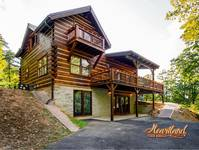 Entry to the lower level of this 3 level cabin near Pigeon Forge and Gatlinburg that sleeps 6 people