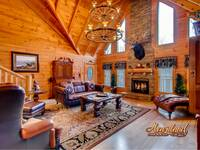 Beautiful living room with fireplace - 4 bedroom in Gatlinburg cabin rental