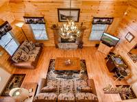 Aerial View of the living room of this cabin in Wears Valley