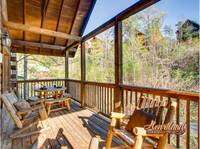 Deck with wooden porch furniture