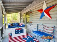Patriotic decor and porch swing
