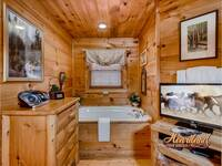 Jetted tub and flat screen TV in the master bedroom of this one bedroom cabin in the Smokies