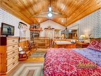 Master bedroom with fireplace, jacuzzi and swing - 2 bedroom cabin near Pigeon Forge