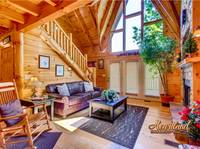 Living room with flat screen TV and fireplace - 2 bedroom cabin near Gatlinburg and Pigeon Forge