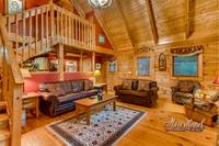 Living room of luxury 3 bedroom cabin that sleeps 6