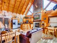 "50"" HDTV with cable, DVD player in this luxurious 3 bedroom cabin rental in the Smokies"