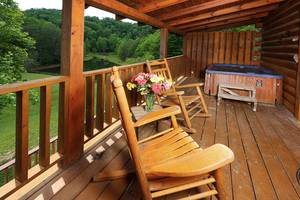 Hot Tub and Rocking Chairs on Back Deck