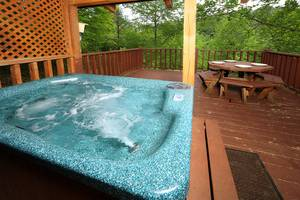 Hot Tub and Picnic Table on Private Back Deck