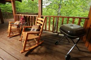Rocking Chairs and Charcoal Grill on Private Back Deck