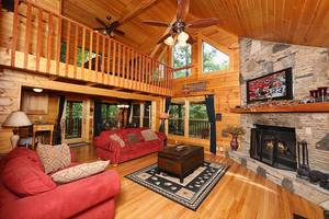 Living Room with Wood Burning Fireplace and Sleeper Sofa