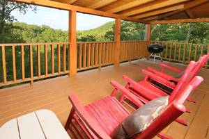 Hot Tub, Rocking Chairs, and Charcoal Grill on Private Back Deck