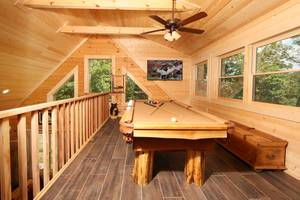 Pool Table and Flat Screen TV in Loft