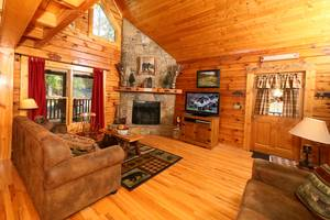 Spacious Living Room with Wood Burning Fireplace