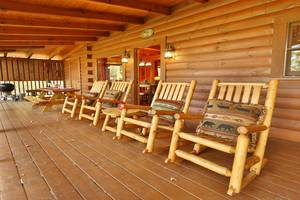 Private Back Deck with Rocking Chairs Overlooking Mountain View