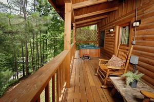 Private Back Deck w/ Hot Tub and Rocking Chairs