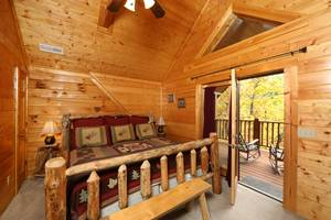 Upstairs Bedroom with King Bed and Private full Bathroom and Private Deck