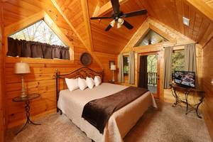 Master Bedroom Upstairs with King Bed and Private Deck