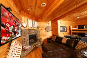 Spacious Den Downstairs with Gas Fireplace