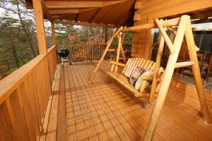 Bench Swing on Private Back Deck Overlooking Mountain View