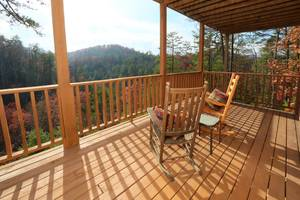 Private Deck with Beautiful Mountain Views off the Downstairs Den