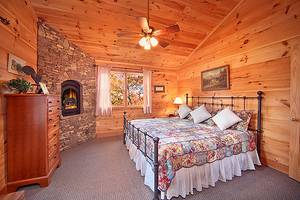 Upstairs Bedroom with Gas Fireplace, King Bed and Full Bathroom