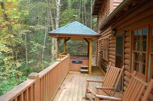 Porch with Rocking Chairs, Hot Tub, and Charcoal Grill