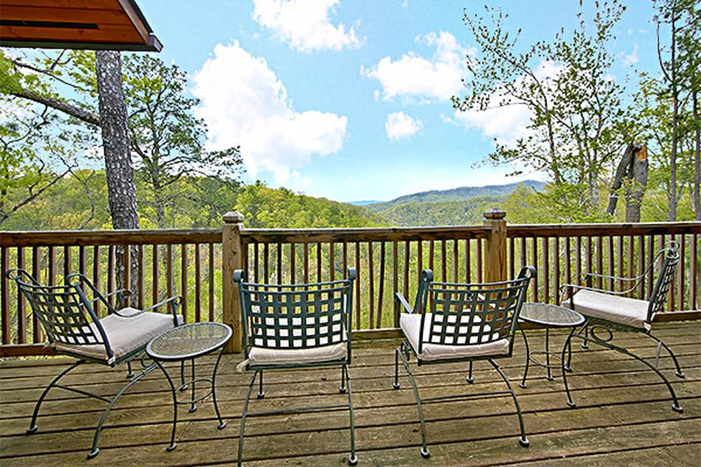 Outdoors Deck with rocking chairs and a view