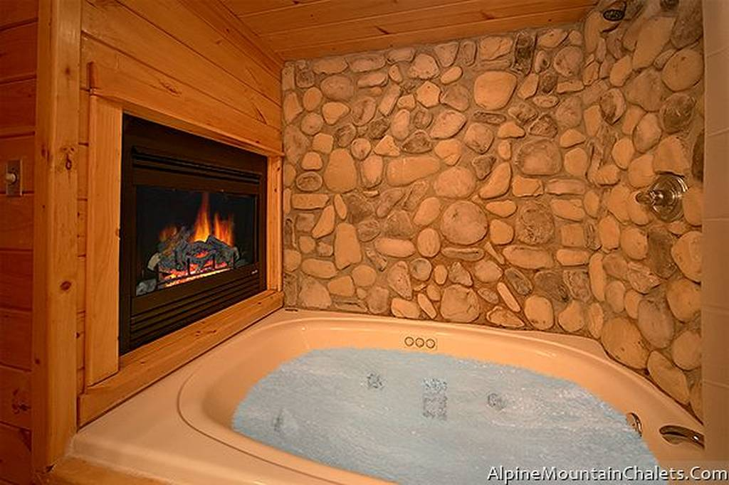 Large Bath with Stone Walls