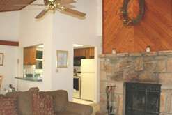 Gatlinburg chalet rental with a wood burning fireplace.