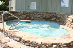 An on-site hot tub at the Windswept condos in gatlinburg