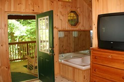 Gatlinburg cabin with a Jacuzzi in the master suite.