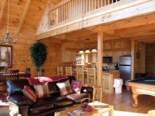 living room of View Ober Gatlinburg Cabin