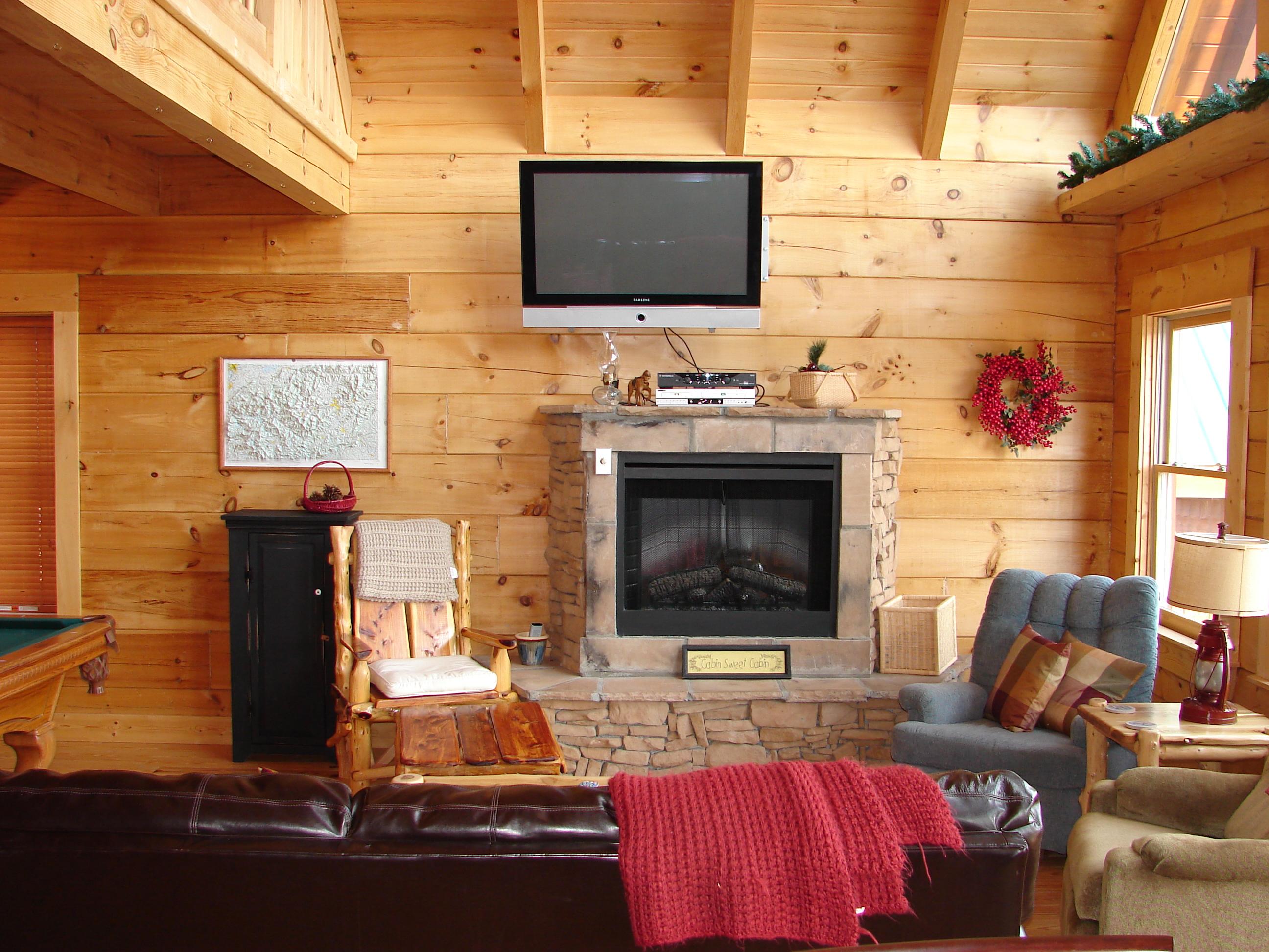 cozy living room in View Ober Gatlinburg Cabin