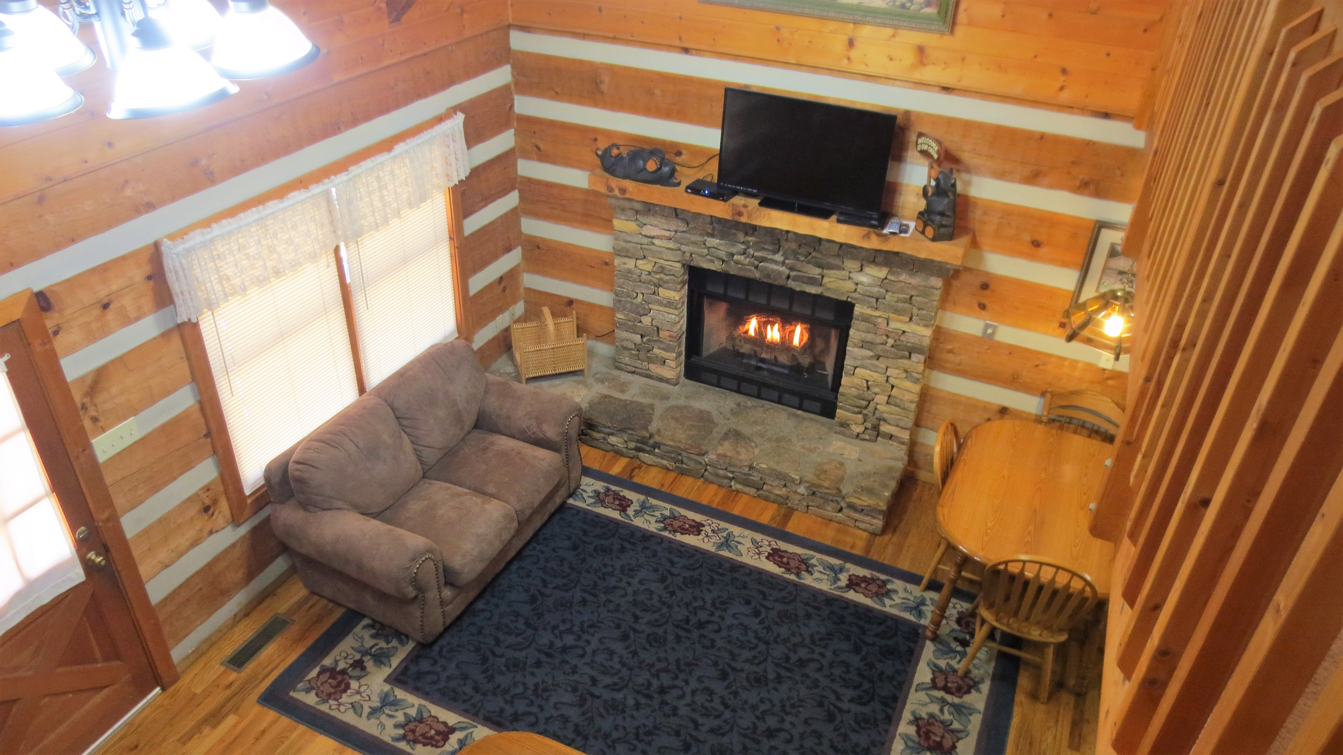 a view from the loft in your gatlinubrg log cabin rental